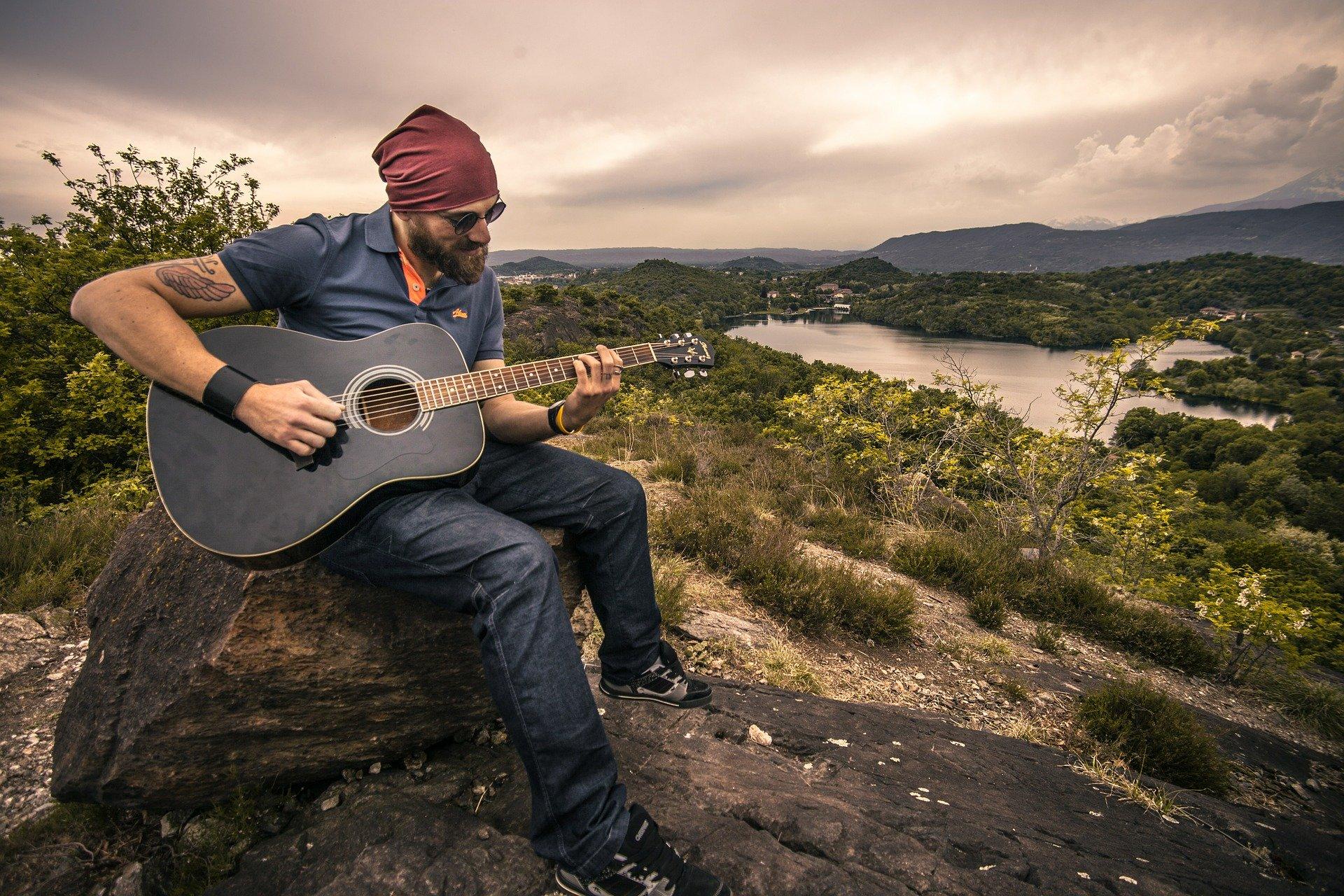 guitarist in nature